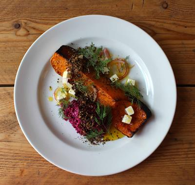 Roast Squash with Beetroot Borani, Squash Seed Dukka and Marinated Wootton White