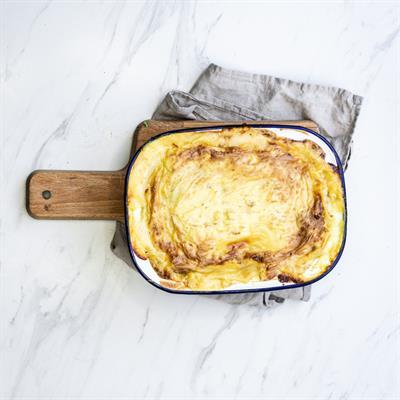 Fish Pie and Mustard Cream Cheddar Sauce Mash