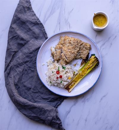 Sesame Crusted Cod with Leek Vinaigrette